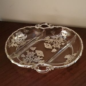 Vintage Silver Inlay Handled 3 Section Dish